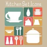 Kitchen Set Icons. Set of flat icons of kitchen utensils in retro scheme Royalty Free Illustration