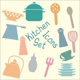 Kitchen Set Icons Royalty Free Stock Photos