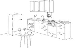 Kitchen Set and Outline Vector Illustration. For many purpose such as architecture and interior magazine, blog or website, coloring book, print on paper, canvas stock illustration