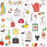 Kitchen set seamless pattern with cups, plates, food, utensils, flowers and pictures. Vector illustration vector illustration