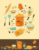 Kitchen Set. Set of Kitchen utensil in Retro-Styled Stock Photos