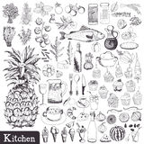 Kitchen set. Utensils and food hand drawn Royalty Free Stock Image