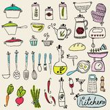 Kitchen set in vector. Stylish design elements of kitchen. Royalty Free Stock Photos