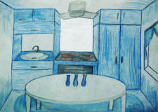 The kitchen is in shades of blue Royalty Free Stock Photo
