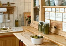 Kitchen shelf. Wooden kitchen shelf in rustic style stock photography