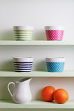 Kitchen shelf arrangement. Stock Images
