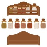 Kitchen shelf with spices of different colors vector vector illustration
