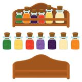 Kitchen shelf with spices of different colors vector stock illustration