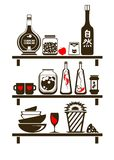 Kitchen Shelves. Monochrome Kitchen Shelves. Vector Illustration Stock Photos