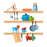 Kitchen shelves with cooking tools and hanging pots vector illustration. Interior of kitchen shelf, utensil and equipment for kitchen royalty free illustration