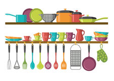 Kitchen shelves and cooking utensils. Vector illustration of kitchen shelves and cooking utensils Royalty Free Stock Photos