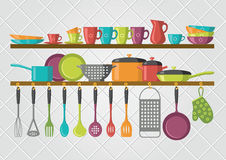 Kitchen shelves and cooking utensils Stock Image