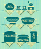 Kitchen shelves with tableware royalty free illustration