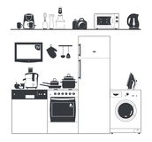 Kitchen silhouette appliances. Washing machine, coffee maker. Pots and fridge. Shelf with electrical appliances. Kitchen Royalty Free Stock Photography