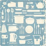 Kitchen silhouette set. Royalty Free Stock Images