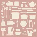 Kitchen silhouette set. Stock Photos