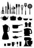 Kitchen silhouettes Royalty Free Stock Photos