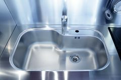Kitchen silver sink modern decoration house. Stainless steel Royalty Free Stock Photo