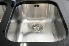 Kitchen silver sink modern stainless steel Stock Photo
