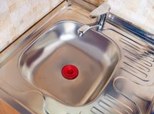 Kitchen sink. New modern kitchen sink at home kitchen stock photography
