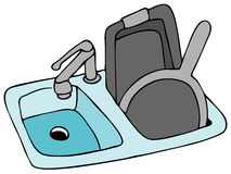 Kitchen Sink. An image of a kitchen sink with pans royalty free illustration