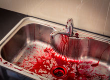 Kitchen sink  with blood for halloween ( Filtered image processe Royalty Free Stock Photo