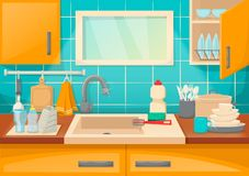 Kitchen sink with clean dishes and accessories, order and comfort. Clean sink with kitchenware of modern kitchen with furniture and utensils. Washing dishes vector illustration