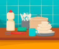 Kitchen sink with clean dishes and accessories, order and comfort. Modern apartment interior. A set of clean kitchen utensils and accessories at the sink vector illustration