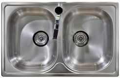 Kitchen Sink Cutout. Stainless Water Tap and Wash Sinks Isolated with Clipping path Stock Image