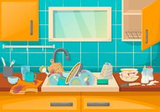 Kitchen sink with dirty dishes and accessories, confusion and inconvenience. Dirty sink with kitchenware of modern kitchen with furniture and utensils. Washing stock illustration