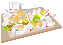 Kitchen sink. Dirty dishes fill the sink. Bowls, cups, spoons, forks, glasses dropped on a pile. It is necessary to wash the royalty free illustration