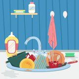 Kitchen sink with dirty dishes and towel. Housework. Flat cartoon style vector illustration vector illustration