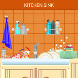 Kitchen sink. And dirty dishes. On a wall shelf with a detergent stock illustration