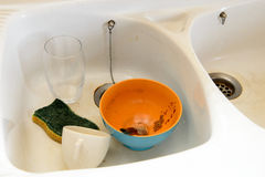 Kitchen sink with dirty dishes Stock Image