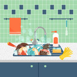Kitchen sink with dirty kitchenware and dishes. Mess and sink, dirty and kitchenware, wash sponge. Vector illustration Royalty Free Stock Photo
