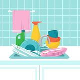 Kitchen sink with dirty plates. Pile of dirty dishes, glasses and wash sponge. Vector illustration. Dirty plate and dish, household work royalty free illustration