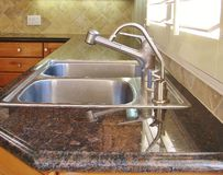Kitchen Sink and Faucet. Kitchen Counter & Stainless Steel Sink stock photo