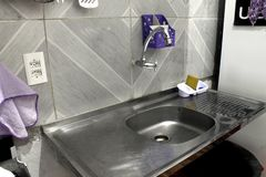 Kitchen sink and faucet. place of home. Kitchen sink and faucet. place of home stock photos