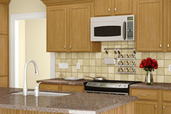 Kitchen with sink in front Royalty Free Stock Photos