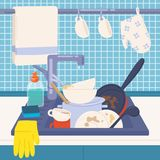 Kitchen sink full of dirty dishes or kitchenware to wash, detergents, sponge and rubber gloves. Messy house. Manual. Dishwashing or home cleaning. Colorful stock illustration