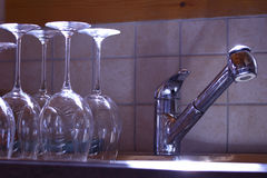 Kitchen sink glass Stock Image