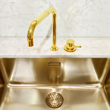 Kitchen sink with golden faucet Royalty Free Stock Photo