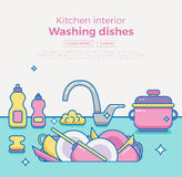 Kitchen sink with kitchenware. Dishes, utensil, towel, wash sponge, dish detergent colorful outline cartoon illustration. Domestic kitchen interior vector Stock Photo
