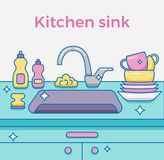 Kitchen sink with kitchenware Stock Photo