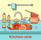 Kitchen sink with kitchenware. Dishes, utensil, towel, wash sponge, dish detergent colorful outline cartoon illustration. Domestic kitchen interior vector Stock Images