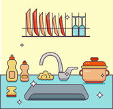 Kitchen sink with kitchenware. Dishes, utensil, towel, wash sponge, dish detergent colorful outline cartoon illustration. Domestic kitchen interior vector Royalty Free Stock Image