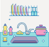 Kitchen sink with kitchenware. Dishes, utensil, towel, wash sponge, dish detergent colorful outline cartoon illustration. Domestic kitchen interior vector Royalty Free Stock Images