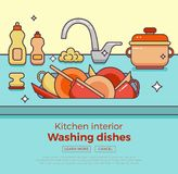 Kitchen sink with kitchenware. Dishes, utensil, towel, wash sponge, dish detergent colorful outline cartoon illustration. Domestic interior vector concept for Royalty Free Stock Photography