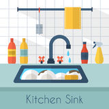 Kitchen sink with kitchenware. Utensil,  dishes, dish detergent and a sponge. Flat style vector illustration Royalty Free Stock Photo