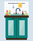 Kitchen sink with kitchenware. Utensil,  dishes, dish detergent and a sponge. Flat style vector illustration Royalty Free Stock Images